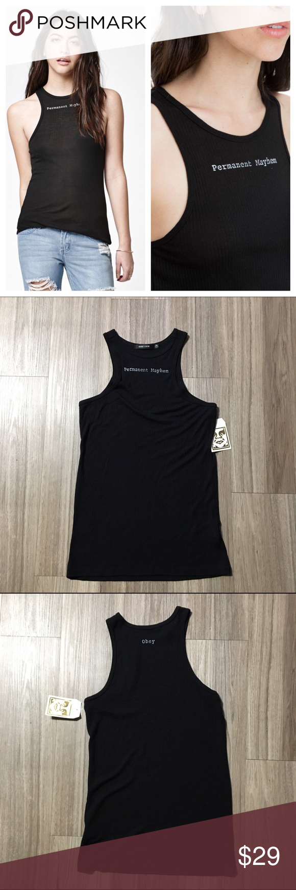 OBEY Permanent Mayhem Black Ribbed Tank Black Ribbed tank from Obey. Permanent Mayhem written on front, obey written on back. Brand new, with tags. Obey Tops Tank Tops
