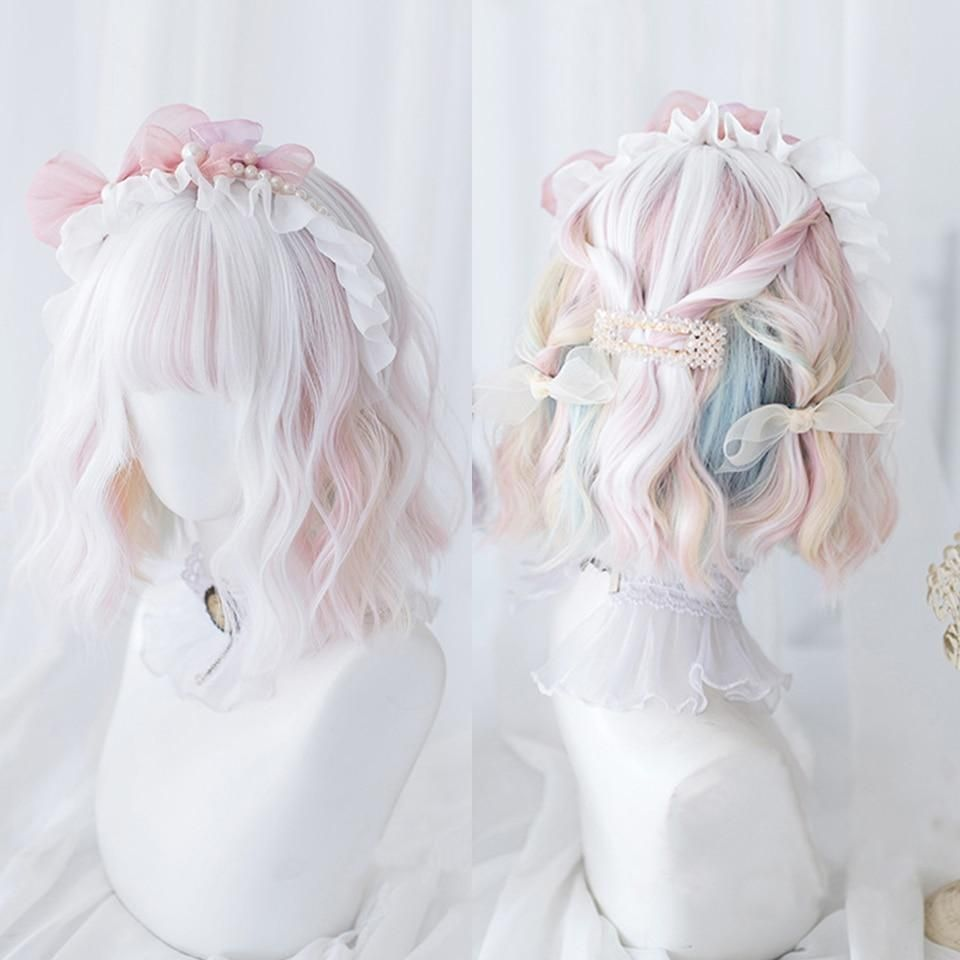 Photo of LUPU Red Blonde Black Pink Synthetic Lolita Wigs With Bangs Long Straight Wig Natural Fake False Hair For Women Heat Resistant – P18/22 / Rreference Picture / China