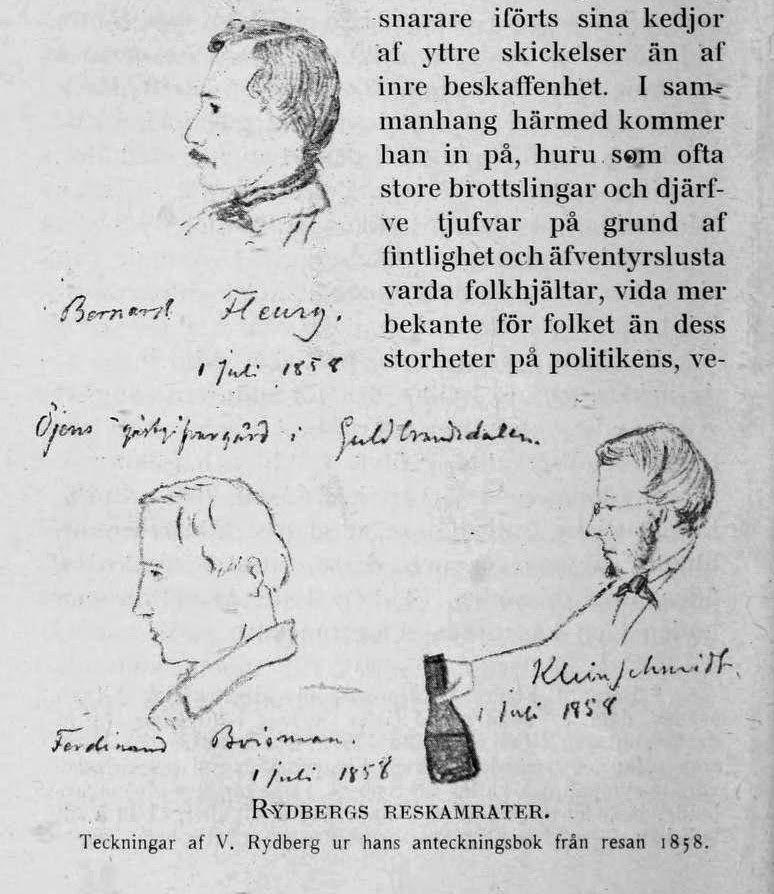 Rydbergs kamrater på vandringen i Norge 1858.