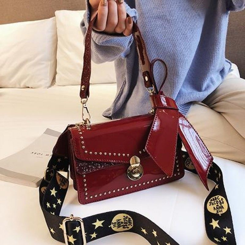 1af2028f9 Black Patent Leather Handbags Flap Studs Square Crossbody Bags in ...