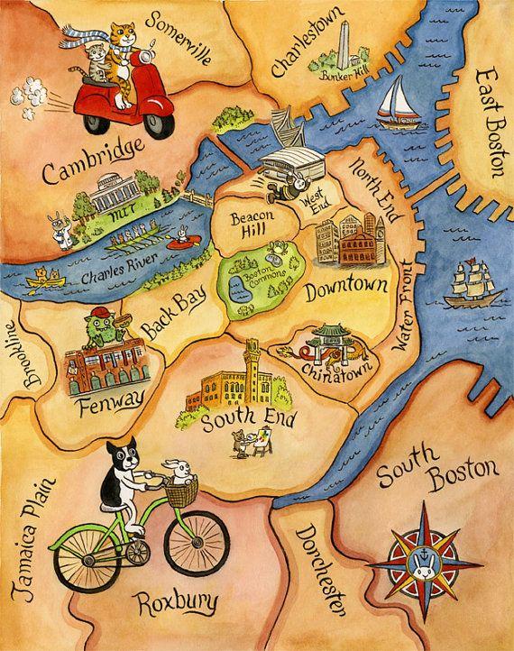 Boston Map Art Illustration Print X By SepiaLepus On Etsy - Boston ma usa map