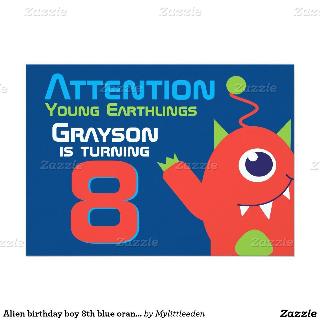Alien birthday boy 8th blue orange invitations by www.mylittleeden ...