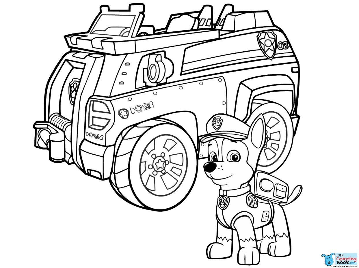 Paw Patrol Chase Police Car Coloring Pages Printable Within Dalmatians On A Police Car Color Paw Patrol Coloring Pages Paw Patrol Coloring Truck Coloring Pages