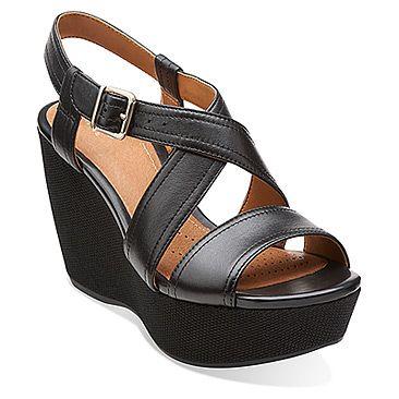 Womens Sandals Clarks Nadene Ziva Black Leather