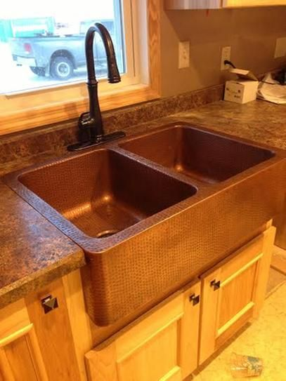 Sinkology Rockwell Farmhouse Apron Front Handmade Solid Copper 33 In Double Bowl 50 50 Kitchen Sink In Antique Copper K2a 1005nd Copper Farmhouse Sinks Kitchen Sink Remodel Farmhouse Sink Kitchen