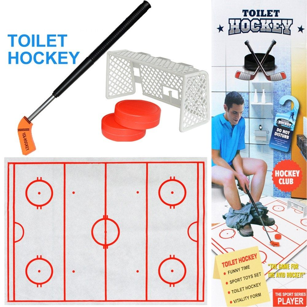 High Quality Toilet Hockey Game Decompression Toys Casual Unisex Plastic Fun Game Ice Hockey Exciting Toy Gift For Children Hockey Games Fun Games Personalized Hockey Stick