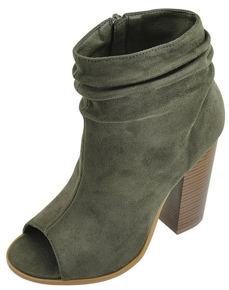 d9d850f152a Bella Marie Women s Peep Toe Slouch Chunky Stacked Block Heel Ankle Bootie