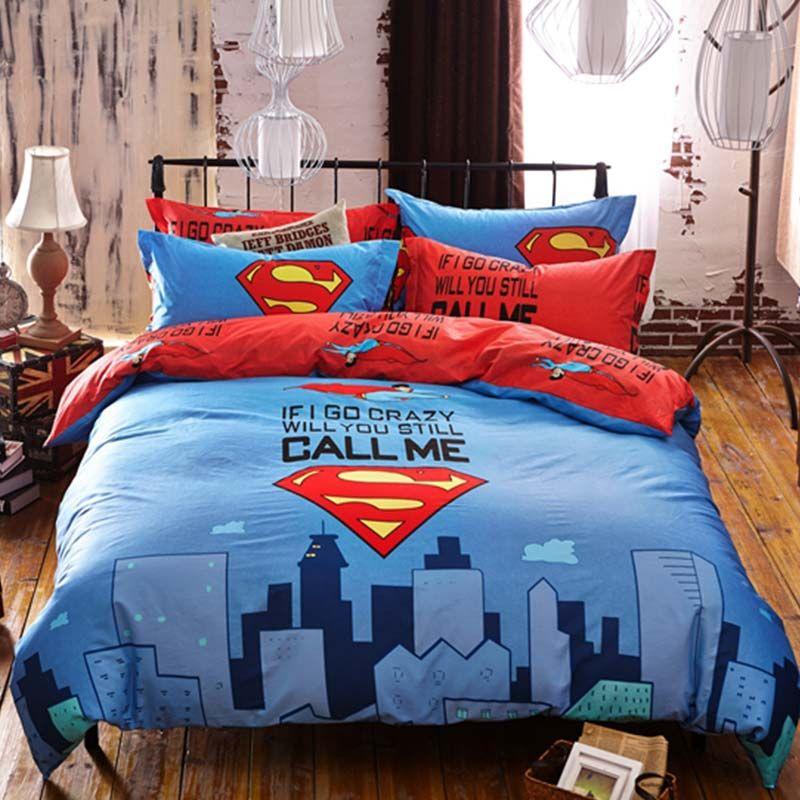 Superman Bedding Set Queen Size In 2020 Queen Bedding Sets Kids