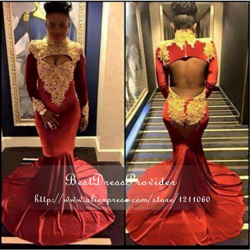 Sexy Long Sleeve Prom Dress High Neck Mermaid Gold Applique Floor ...