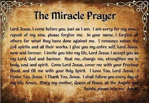 miracle prayer | The Miracle Prayer