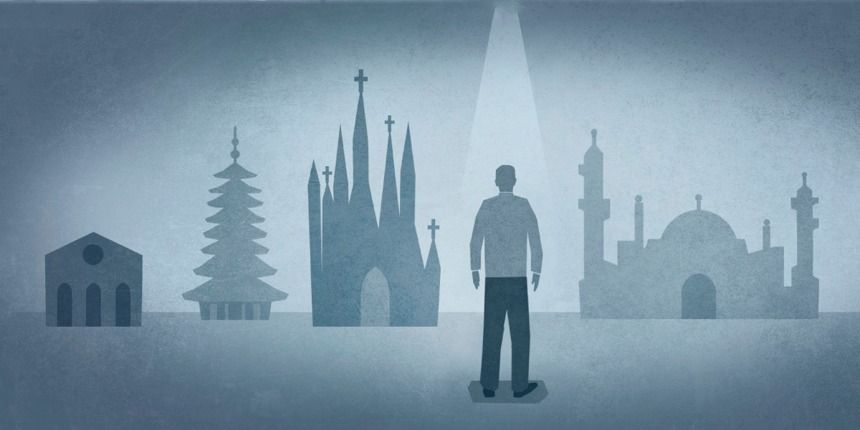 Eine Zeichnung, auf der ein Mann vor verschiedenen religiösen Gebäuden steht. Warum gibt es so viele Religionen?