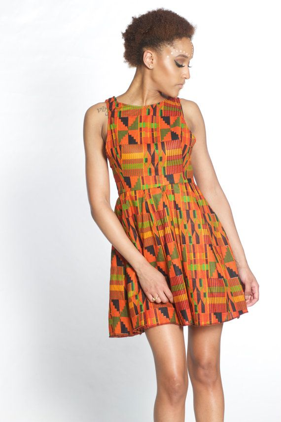 Womens Kente Dress African Print Dress Womens African Clothing