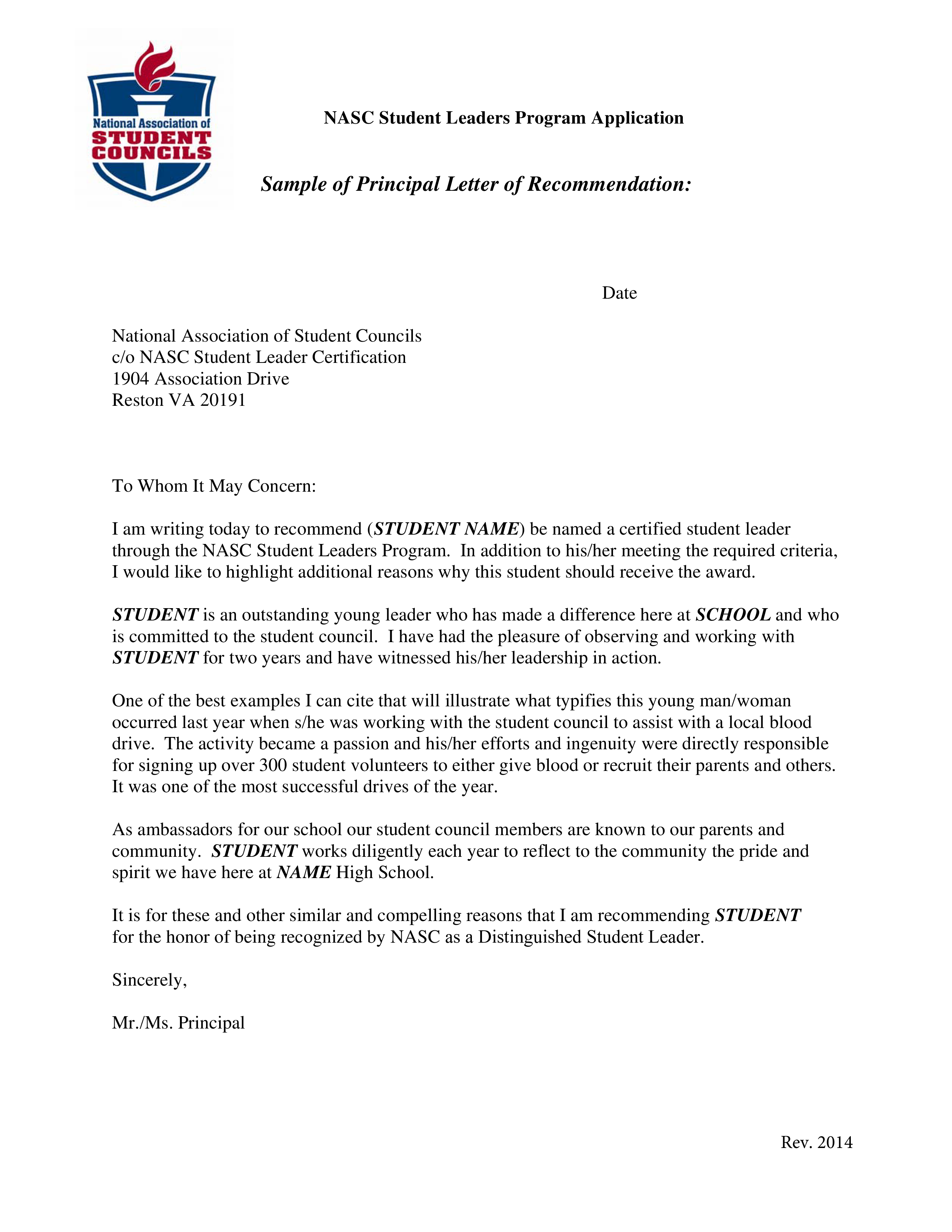 principal recommendation letter for student