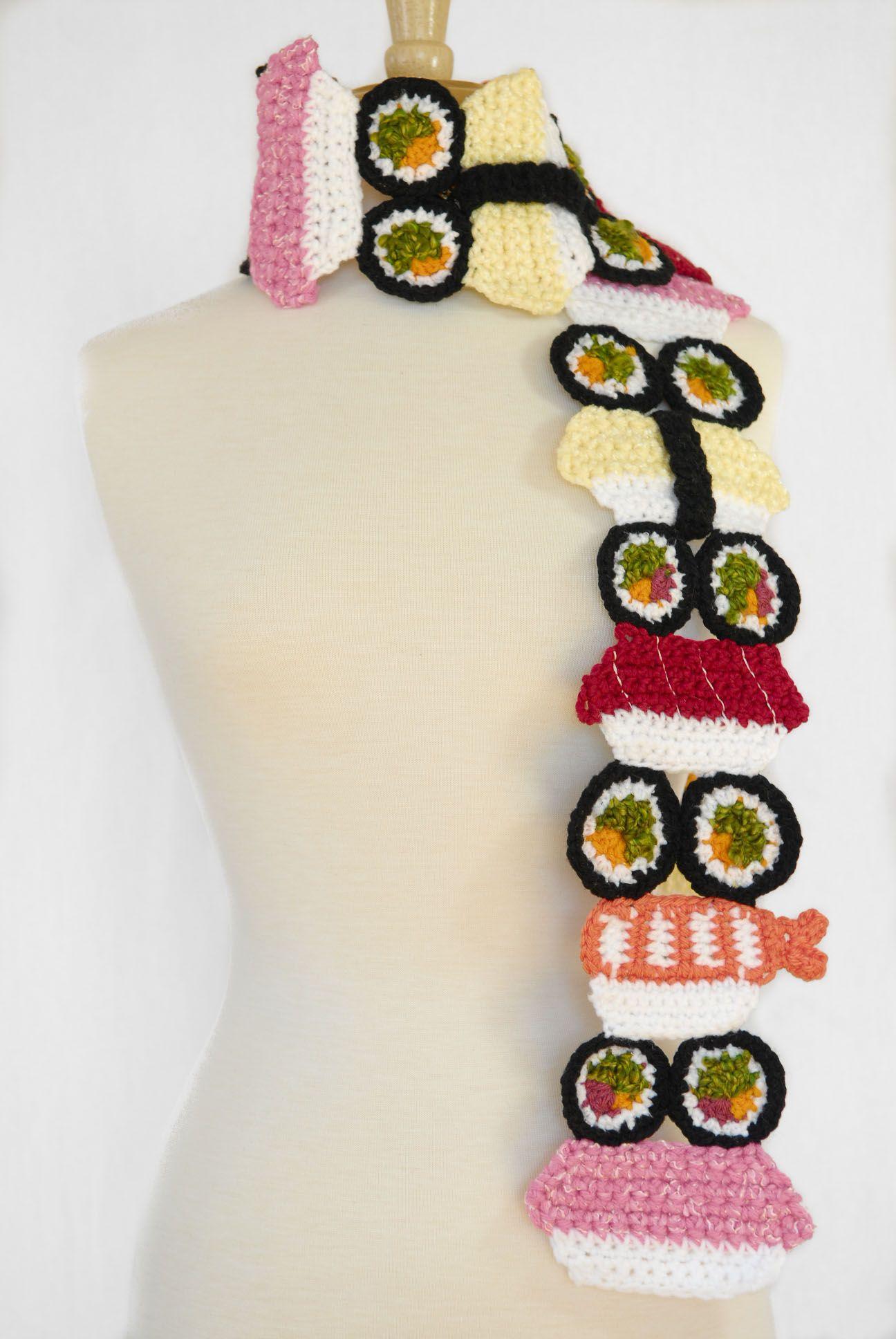 Cute!! Sushi 3D Scarf, Food Scarf | Crochet | Pinterest | Crochet ...