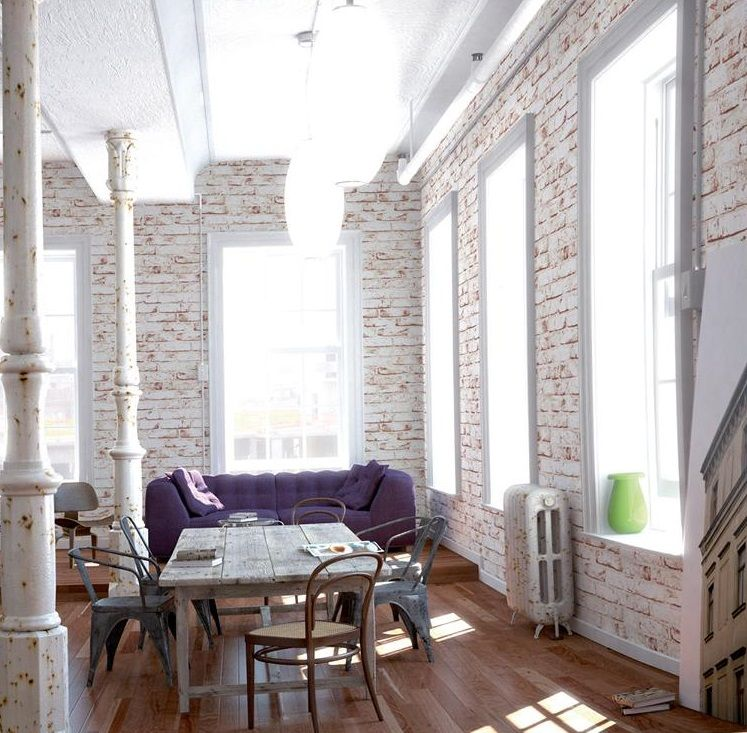 Make Any Old Apartment Feel Like A New York City Former Factory Loft With Faux Painted Brick Wallpaper