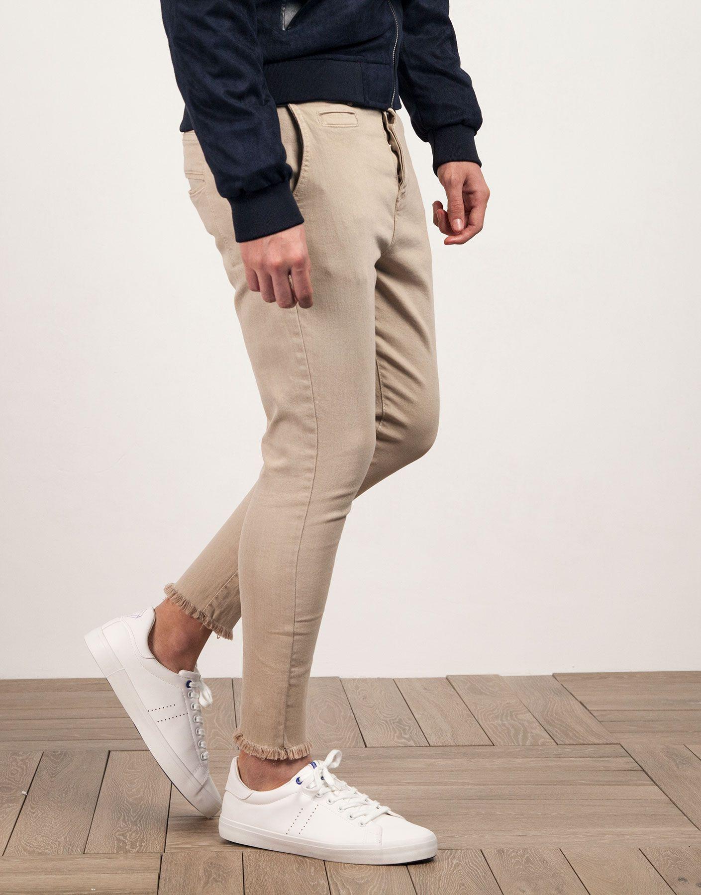 Pantalon Chino Algodon Beige Jvz Pantalones Chinos Pantalones Moda Casual Hombre