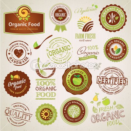 Conjunto De Rotulos De Alimentos Organicos E Elementos Ilustracao De Stock 16319593 Alimentos Organicos Etiquetas De Comida Marcas De Comida