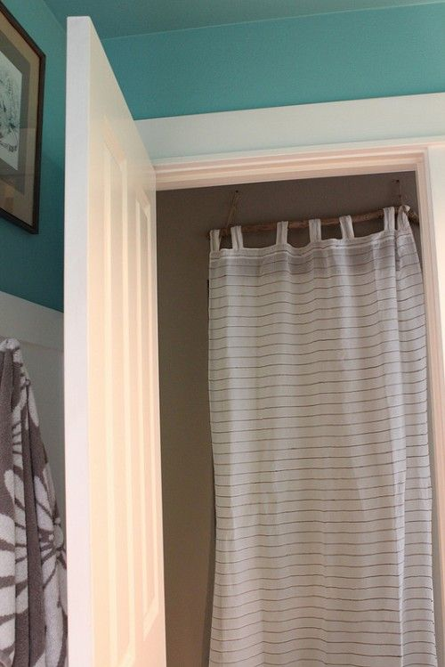 My Simple And Done Quick Fix Closet Door Curtain Diy Driftwood Rod Curtains For Closet Doors Diy Closet Doors Curtains