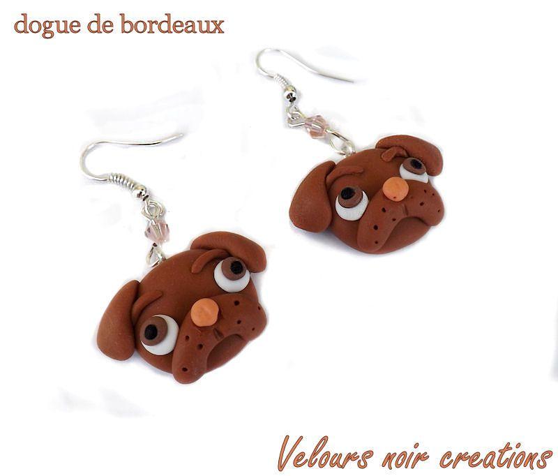 Dogue de bordeaux earrings handmade in polymer clay