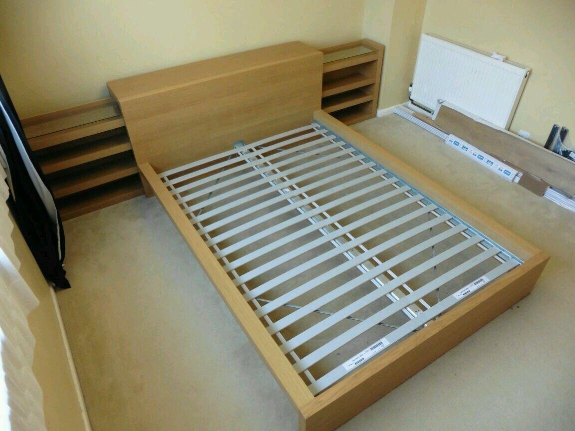 ikea malm double bed frame u0026 optional extra storage cabinets oak veneer ebay