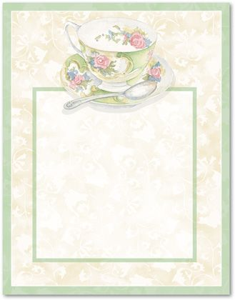 free tea party borders afternoon tea stationery letterhead 10608