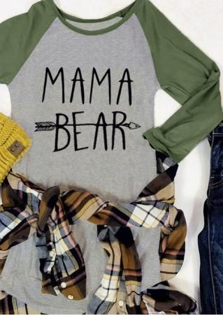 dbf143cc3 MAMA BEAR Arrow Printed Splicing O-Neck T-Shirt | Monogram | Shirts ...
