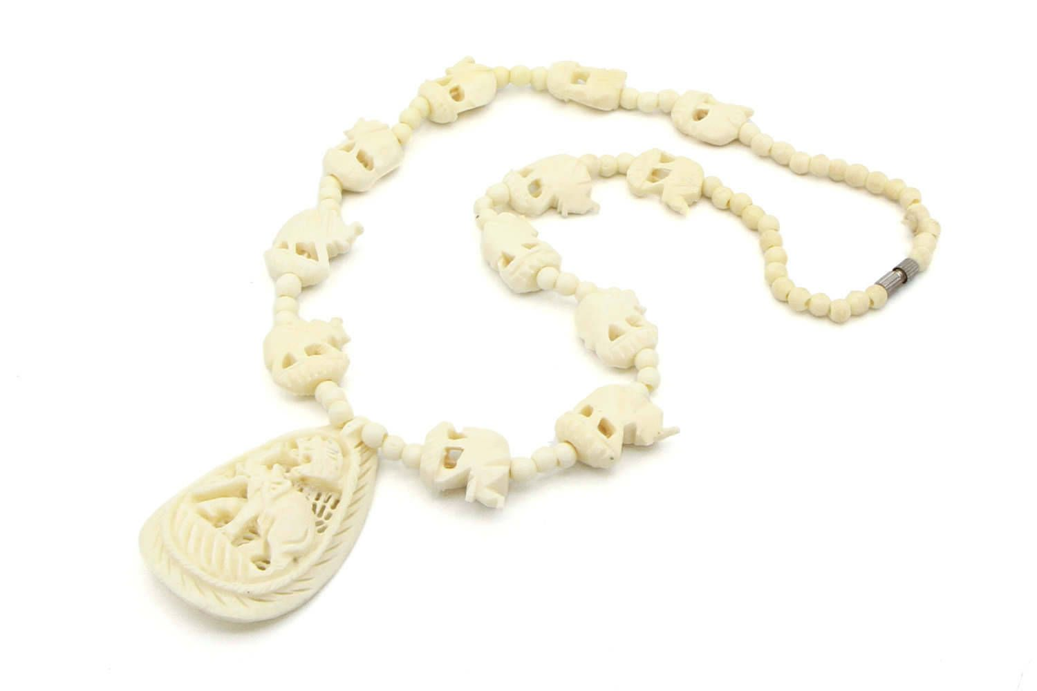 Elephant Bone Necklace Carved Bone Beaded Necklace Indian Pendant Necklace Animal Jewelry Real Bone J Bone Bead Necklace White Chunky Necklace Luck Jewelry