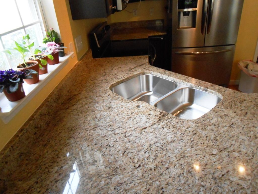 GIALLO ORNAMENTAL Granite 4 24 13 Granite Countertops Installed In  Mooresville NC 40/60 Sink