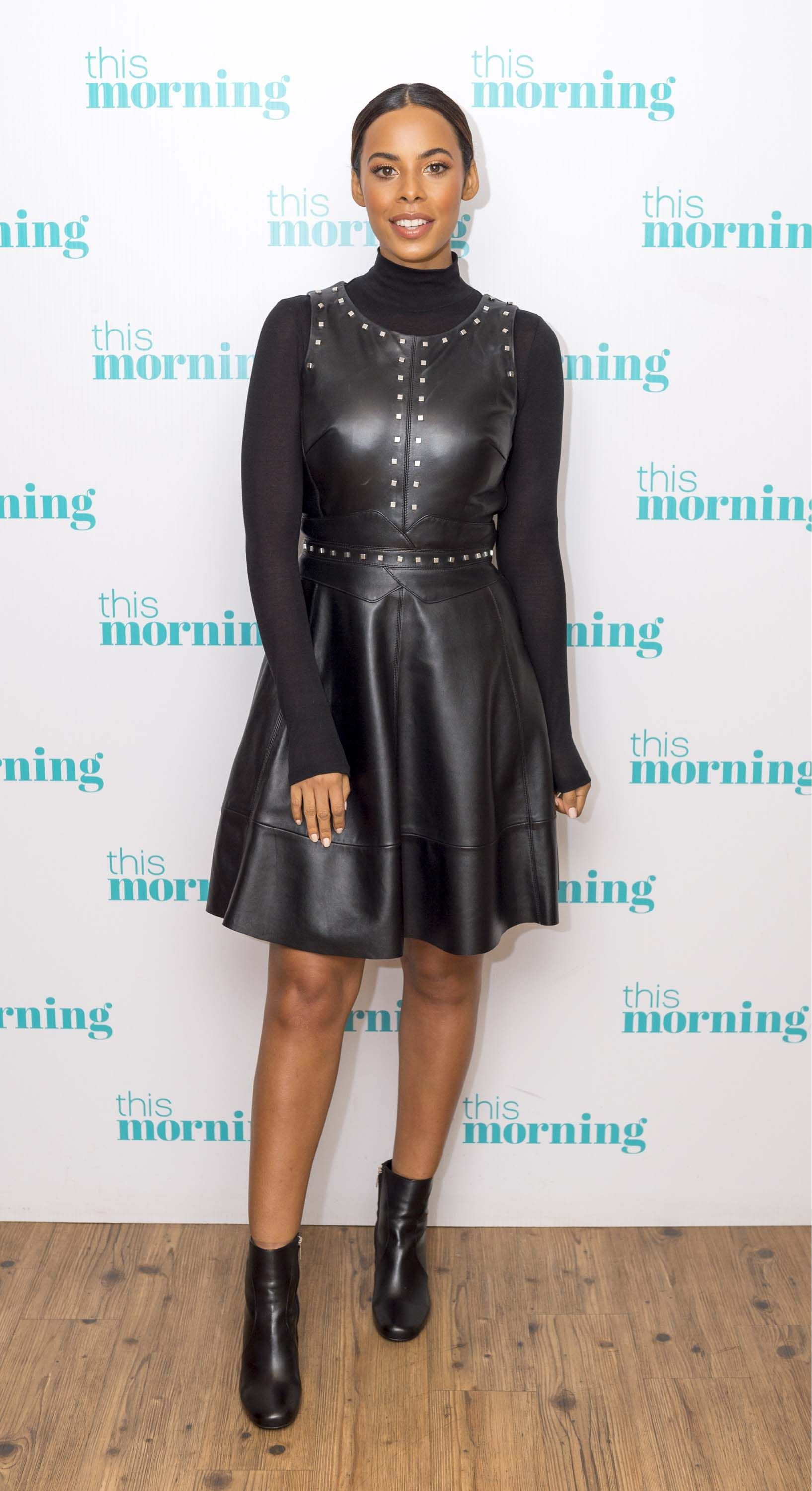 Rochelle Humes In Black Leather Dress Leather Dresses Black Leather Dresses Leather Dress