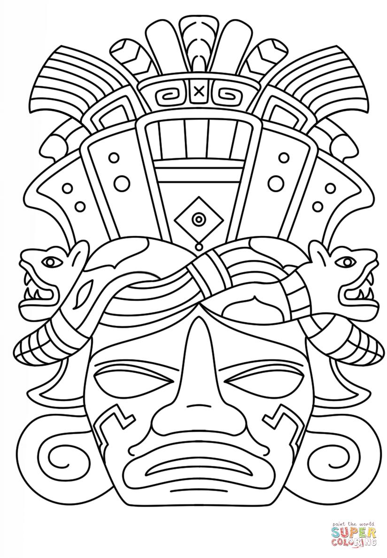 Mayn Mask Coloring Page Png 824 1186 Mayan Art Maya Art Aztec Art