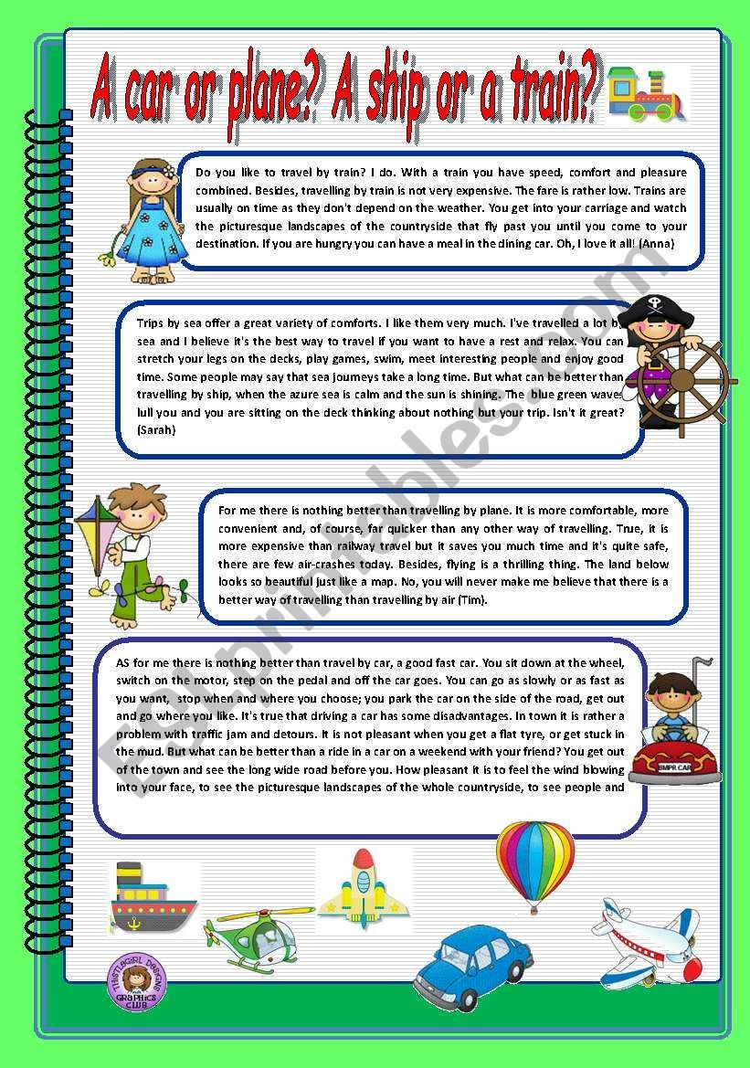 Different Means Of Transport 1 Reading Comprehension Worksheets Reading Worksheets English Reading [ 1169 x 821 Pixel ]