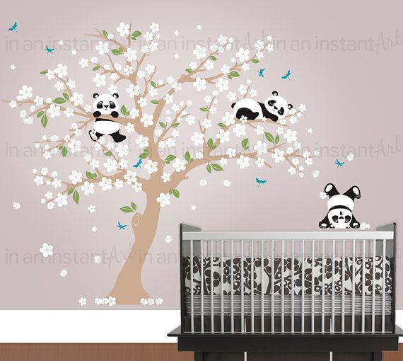 Panda Wall Decal Playful Pandas In Cherry Blossom Tree Custom - Custom vinyl wall decals cherry blossom tree