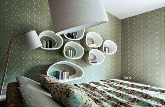 Graphics shelves in this bedroom