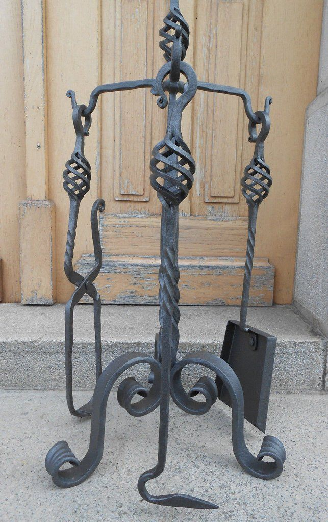 Luxury Hand Forged Fireplace Tools Set Handmade 4 Pieces Set 68cm Fireplace Tool Set Fireplace Tools Fireplace Poker