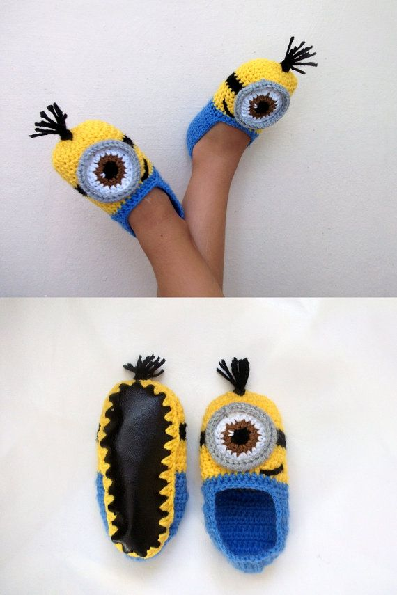 Crochet Minion Despicable Me Baby Booties,Minion Slippers- with non ...