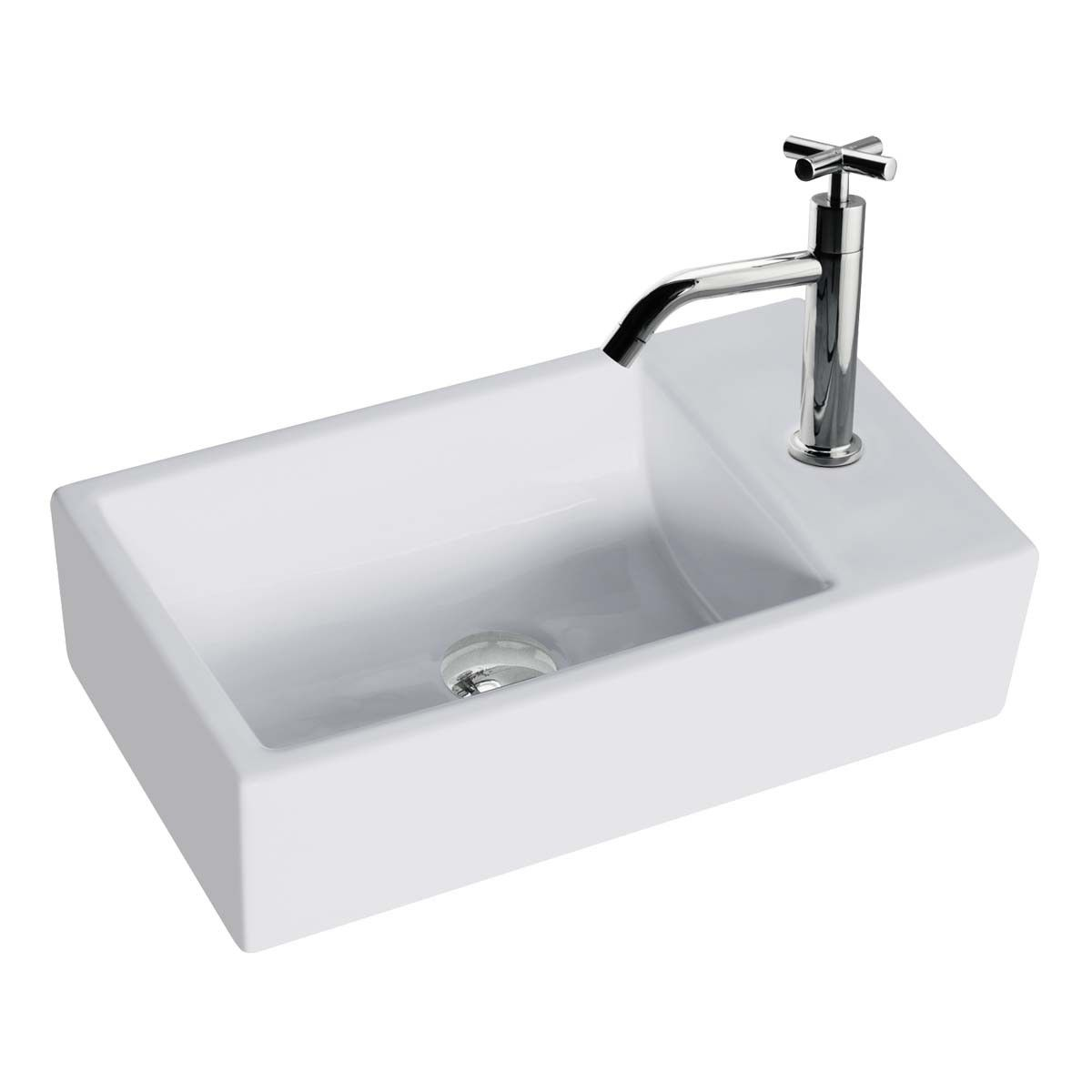 Small white vessel sink vitreous china rectangle scratch and stain