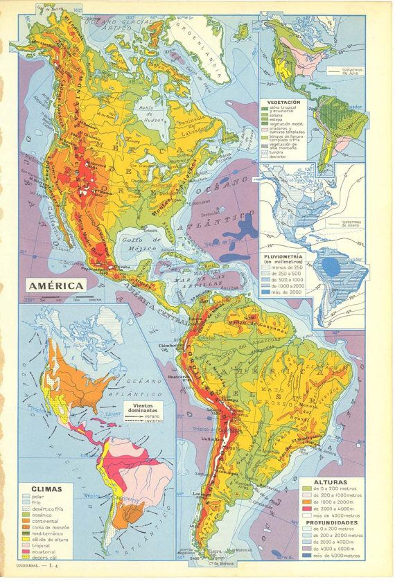 Colorful Vintage Relief Map of the Americas earth Pinterest