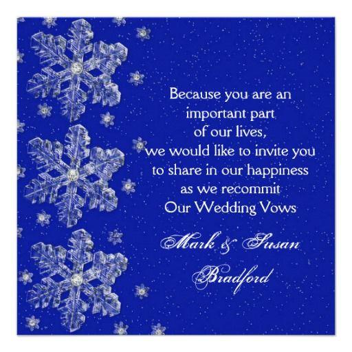 Winter Wedding Vow Renewal Inviation Bluesnow Card Wedding vow