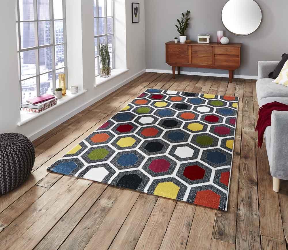 Trend Grafische Muster Mit Hexagon Mit Bildern Teppich Design Teppich Bunt Moderne Teppiche