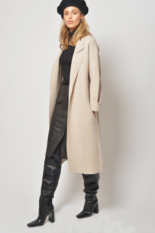 Primary Brown Allan Oatmeal Merino Wool Coat | Coat