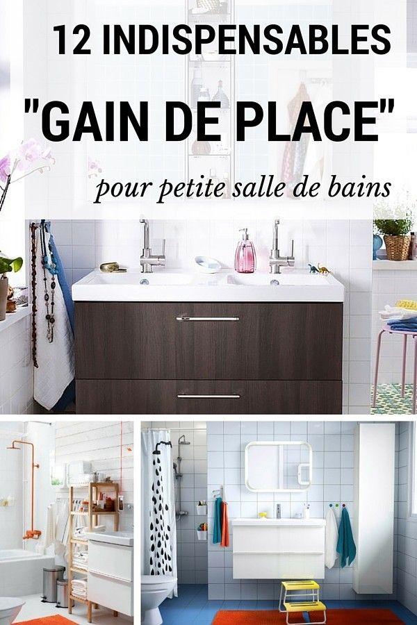 12 indispensables gain de place pour une petite salle de bains salle de bains pinterest. Black Bedroom Furniture Sets. Home Design Ideas