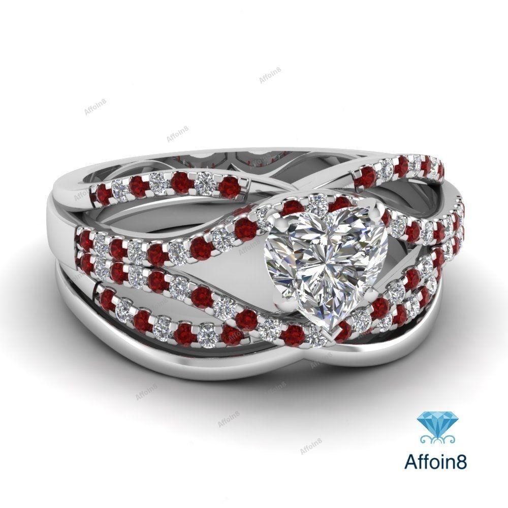 14K White Gold Heart Shape Garnet Diamond Engagement Bridal Wedding
