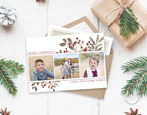 Christmas Card Template Floral Watercolor Christmas Etsy Christmas Card Template Christmas Photo Card Template Holiday Photo Cards Template