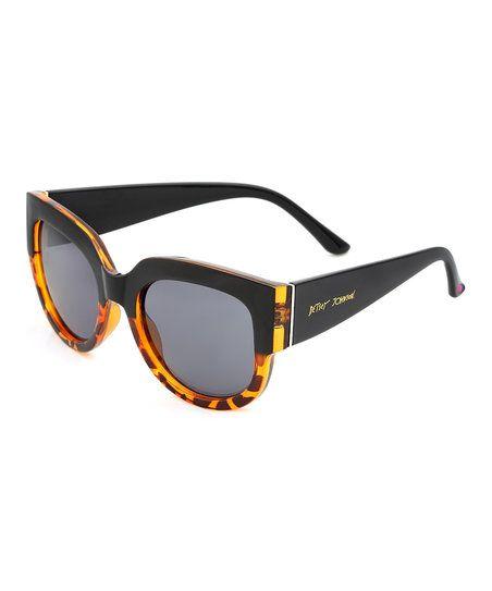 Betsey Johnson Tortoise & Black Modified Round Sunglasses | zulily