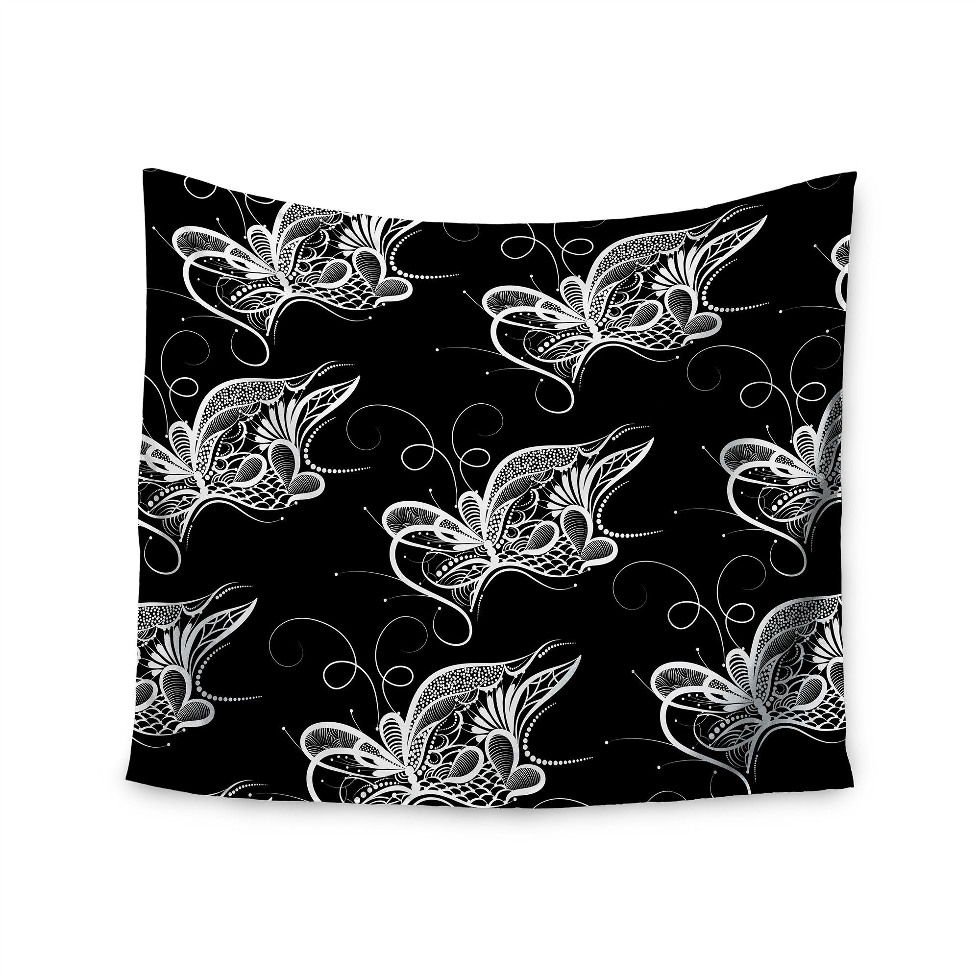 """Maria Bazarova """"Butterfly"""" White Nature Wall Tapestry"""