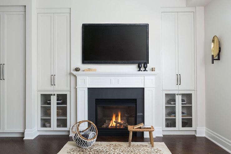Simple Fireplace Chicken Wire Cabinet Doors Transitional Living