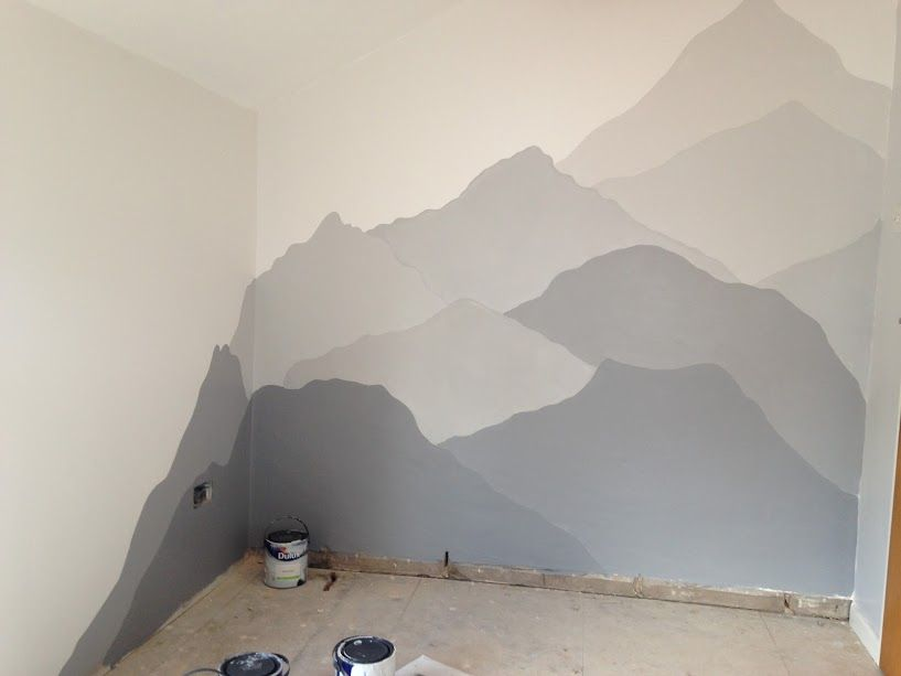 I Spent Days And Days Pinning Things For The Nursery And One Of The Things I Kept Coming Back To Were The Mountains Dulux Chic Shadow Wall Murals Chic Shadow