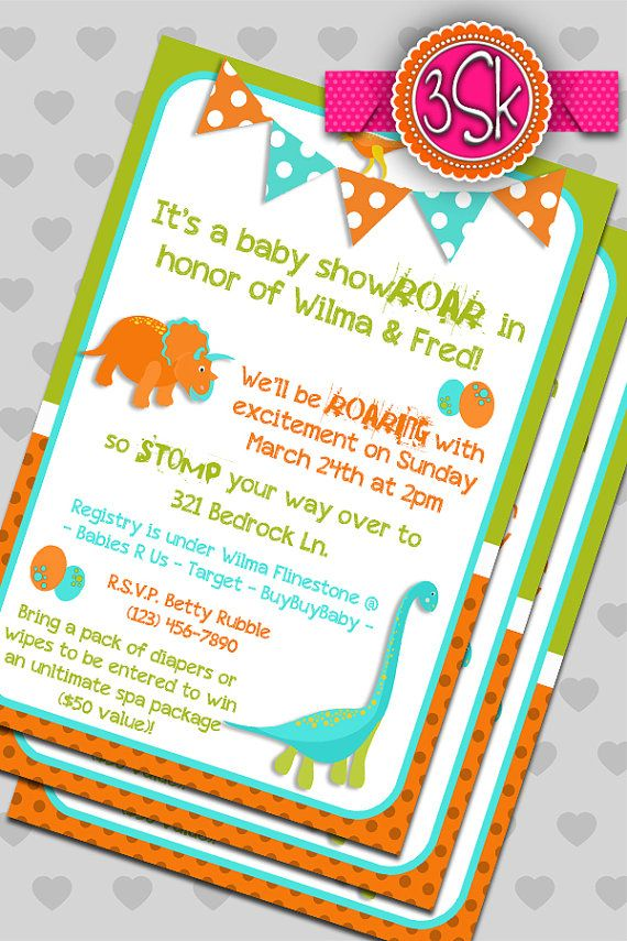 Dinosaur baby shower invitations by 3SmittenKittens on Etsy, $10.00 ...