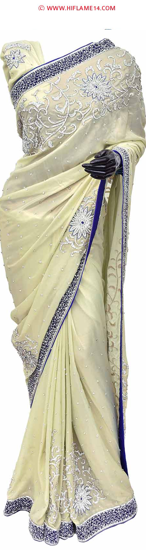 Pista green heavy work designer saree smashing designer sarees