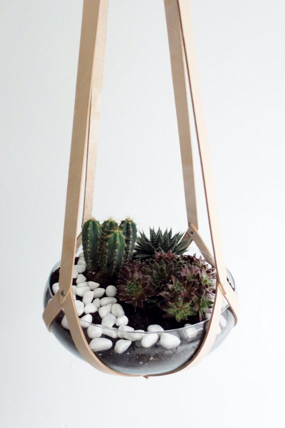 Hanging terrarium, mini garden indoor, minimalist plant hanger vegetable tanned natural leather including glass bowl (without plants) is part of Indoor garden Minimalist - hangingbasketminimalisthanging ref shop home active 29 Contact me if you want to make a custom order (for example different length)  I will reply to you as soon as possible with further details    Designed & handmade in The Netherlands by Elma Polak